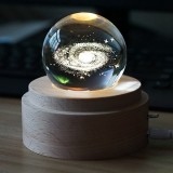 3D Word Engraving Crystal Ball Music Box Milky Way Pattern Electronic Swivel Musical Birthday Gift Home Decor with Music
