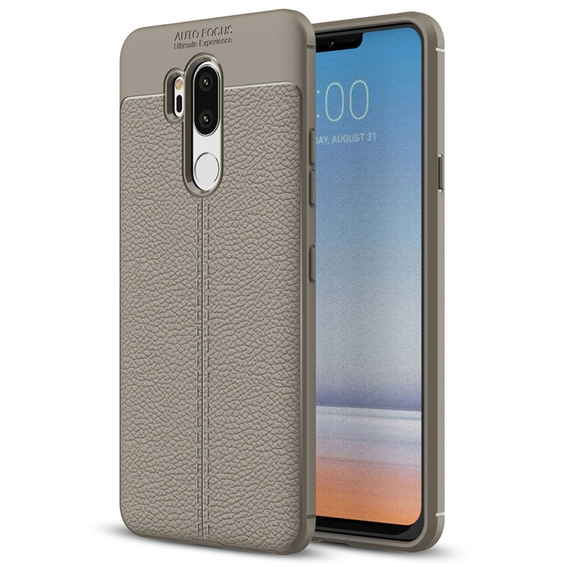 new product f4e2b f7833 For LG G7 ThinQ Litchi Texture Soft TPU Protective Back Cover Case (Grey)