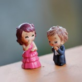 Victorian Style Wedding Marry Bride Groom Couples Decoration Moss Micro Landscape PVC Ornaments