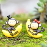 2 PCS Banana Monkey Garden Dollhouse Decoration Moss Micro Landscape Resin Ornaments (Grey)
