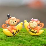 2 PCS Banana Monkey Garden Dollhouse Decoration Moss Micro Landscape Resin Ornaments (Yellow)