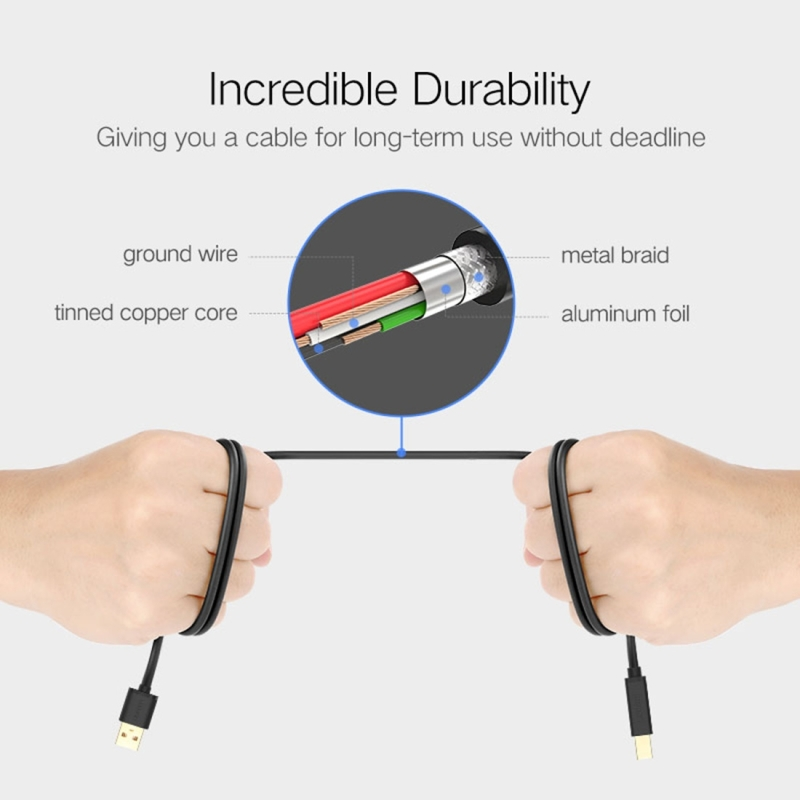 UGREEN USB 2.0 Nickel-plated Printer Cable Data Cable, For Canon, Epson, HP, Cable Length: 1m