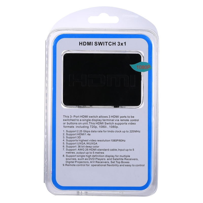 1080P 3 x 1 Ports (3 Ports Input x 1 Port Output) HDMI Switch with Remote Control