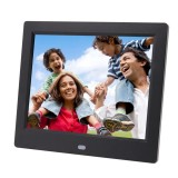 AC 100-240V 8 inch TFT Screen Digital Photo Frame with Holder & Remote Control, Support USB / SD Card Input (Black)