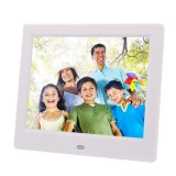 AC 100-240V 8 inch TFT Screen Digital Photo Frame with Holder & Remote Control, Support USB / SD Card Input (White)