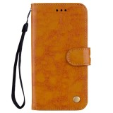 For Galaxy A8 (2018) Business Style Oil Wax Texture Horizontal Flip Leather Case with Holder & Card Slots & Wallet (Brown)