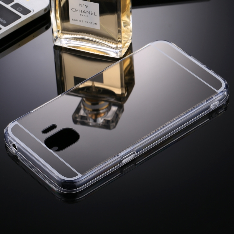 timeless design 1615d 9c778 For Galaxy J2 Pro (2018) Acrylic + TPU Electroplating Mirror Protective  Back Cover Case (Black)