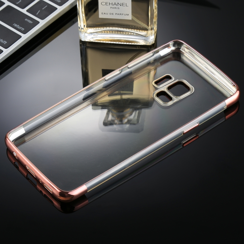 For Galaxy S9 Three Sections Electroplating Side TPU Protective Back Case (Rose Gold)