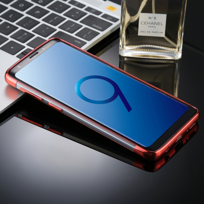 For Galaxy S9 Three Sections Electroplating Side TPU Protective Back Case (Red)