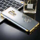 For Galaxy S9+ Three Sections Electroplating Side TPU Protective Back Case (Gold)