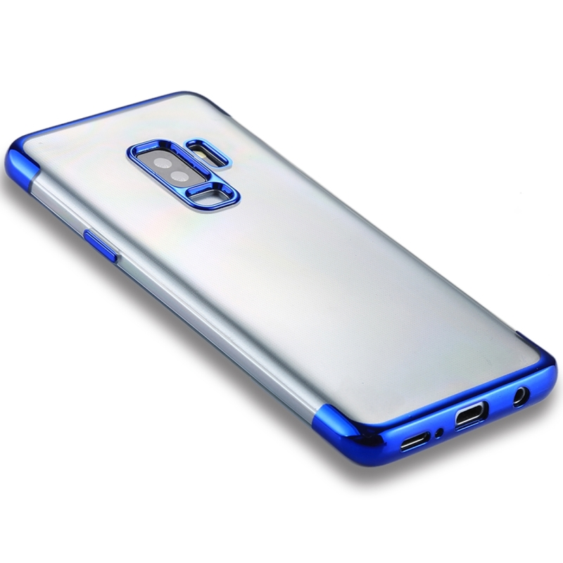 For Galaxy S9+ Three Sections Electroplating Side TPU Protective Back Case (Blue)