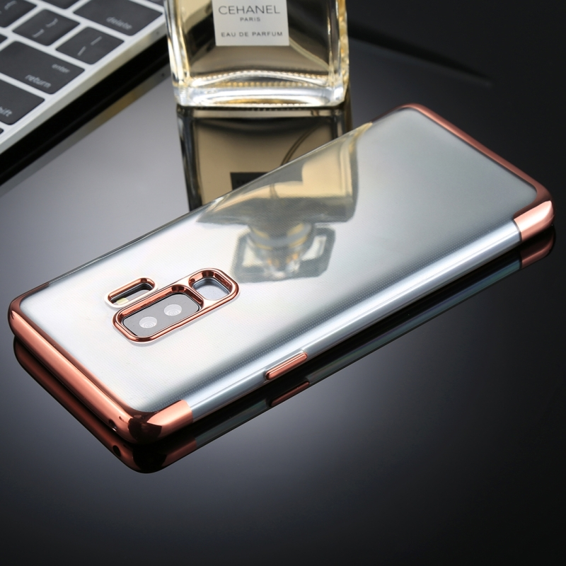 For Galaxy S9+ Three Sections Electroplating Side TPU Protective Back Case (Rose Gold)