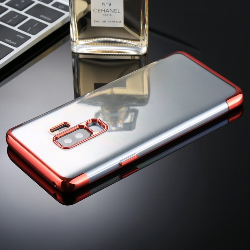 For Galaxy S9+ Three Sections Electroplating Side TPU Protective Back Case (Red)