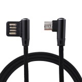 1m 2.4A Output USB to Micro USB Double Elbow Design Nylon Weave Style Data Sync Charging Cable, For Samsung, Huawei, Xiaomi, HTC, LG, Sony, Lenovo and other Smartphones (Black)