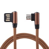 1m 2.4A Output USB to Micro USB Double Elbow Design Nylon Weave Style Data Sync Charging Cable, FFor Samsung, Huawei, Xiaomi, HTC, LG, Sony, Lenovo and other Smartphones (Coffee)