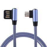 1m 2.4A Output USB to Micro USB Double Elbow Design Nylon Weave Style Data Sync Charging Cable, For Samsung, Huawei, Xiaomi, HTC, LG, Sony, Lenovo and other Smartphones (Blue)