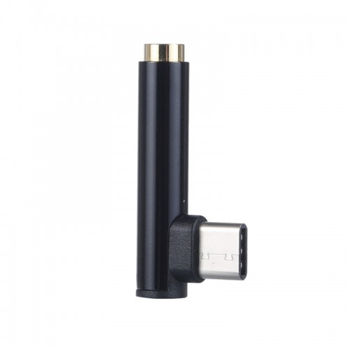 Type-C Male to 3.5mm Female L-type Stereo Audio Headphone Jack Adapter (Black)