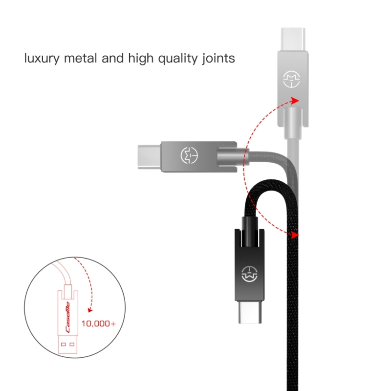 CaseMe 1.2m 5V 2.1A Cloth Weave 3D Aluminium Alloy Type-C to USB Data Sync Charging Cable, For Galaxy S8 & S8 + / LG G6 / Huawei P10 & P10 Plus / Xiaomi Mi 6 & Max 2 and other Smartphones (Black)