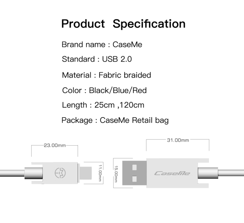 CaseMe 1.2m 5V 2.1A Cloth Weave 3D Aluminium Alloy USB to Micro USB Data Sync Charging Cable, For Galaxy, HTC, Google, LG, Sony, Huawei, Xiaomi, Lenovo and Other Android Phone (Black)
