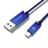 CaseMe 25cm 5V 2.1A Cloth Weave 3D Aluminium Alloy USB to Micro USB Data Sync Charging Cable, For Galaxy, HTC, Google, LG, Sony, Huawei, Xiaomi, Lenovo and Other Android Phone (Blue)