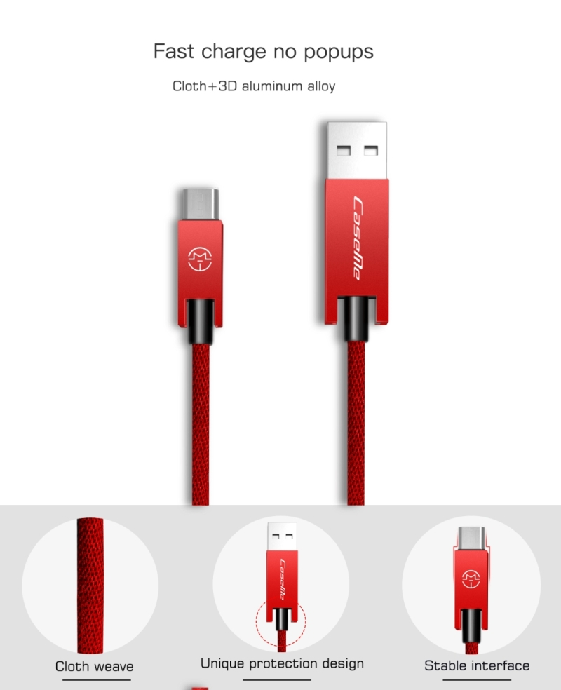 CaseMe 25cm 5V 2.1A Cloth Weave 3D Aluminium Alloy USB to Micro USB Data Sync Charging Cable, For Galaxy, HTC, Google, LG, Sony, Huawei, Xiaomi, Lenovo and Other Android Phone (Red)