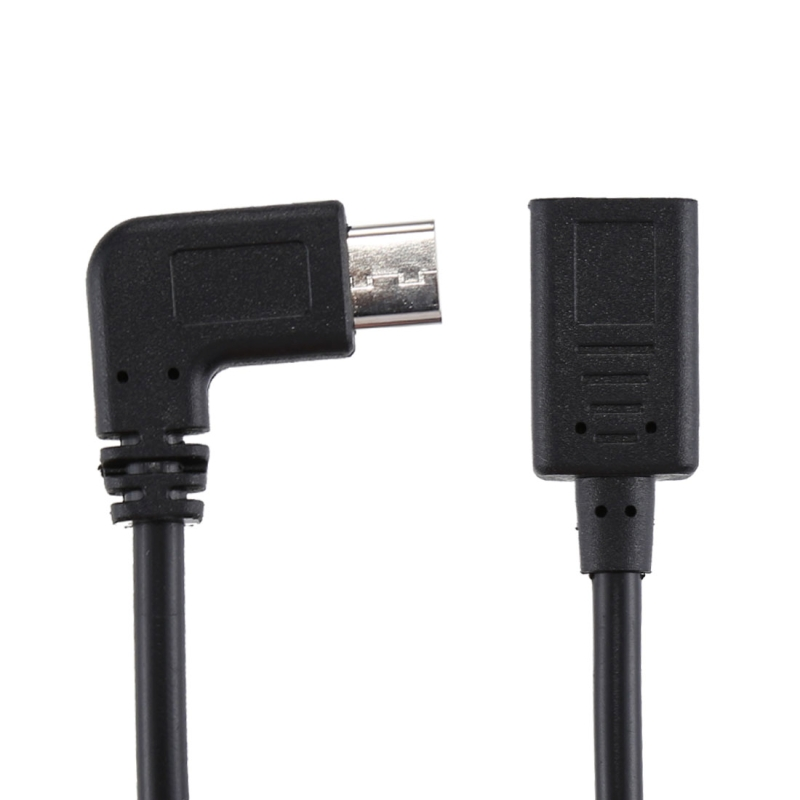 USB-C / Type-C Female to USB-C / Type-C Male Elbow Adapter Cable, Total Length: about 30cm, For Galaxy S9 & S9+ & S8 & S8 + / LG G6 / Huawei P10 & P10 Plus / Xiaomi Mi 6 & Max 2 and other Smartphones