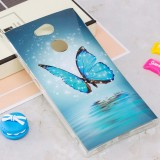 For Sony Xperia L2 Noctilucent Butterfly Pattern TPU Soft Back Case Protective Cover