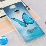 For Sony Xperia XA2 Noctilucent Blue Butterfly Pattern TPU Soft Back Case Protective Cover