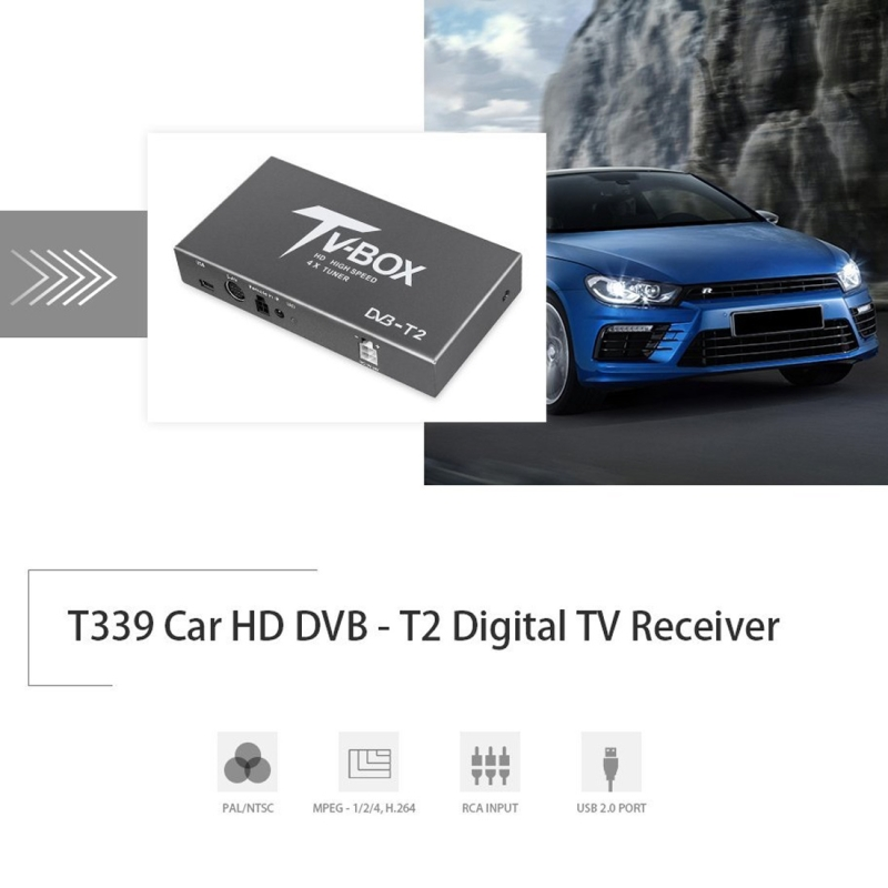 BLH-TM389B HD 4 x Turner Car Mobile DVB-T2 Digital TV Receiver with Remote Control, Support MPEG-1, MPEG-2, MPEG-4, 160KM/hour, H.264 decoder (up to 1920x1080P) (Black)