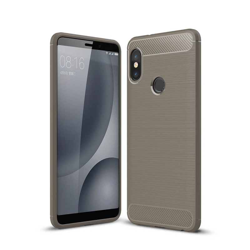 new arrival 57aa7 b1931 For Xiaomi Redmi Note 5 Pro Brushed Texture Carbon Fiber Shockproof TPU  Full-body Rugged Protective Back Cover Case (Grey)