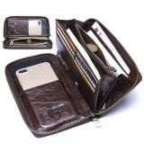 Men Multifunction Purse Pen Holder Phone Holder Zipper Pocket Large Capacity Business Wallet