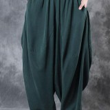 Women High Elastic Waist Pure Color Loose Harem Baggy Pants