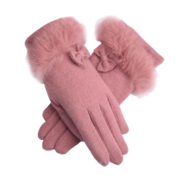 LYZA Women Warm Elegant Wool Gloves Casual Windproof Full Fingers Gloves