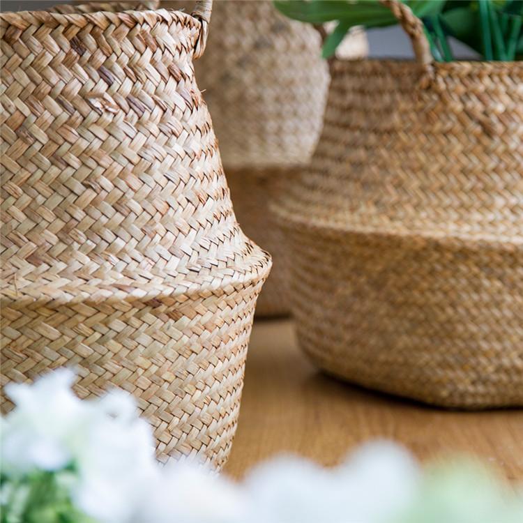 Garden Flower Pot Seagrass Belly Basket Storage Plant Pot Foldable Seeding Nursery Decoration Bag