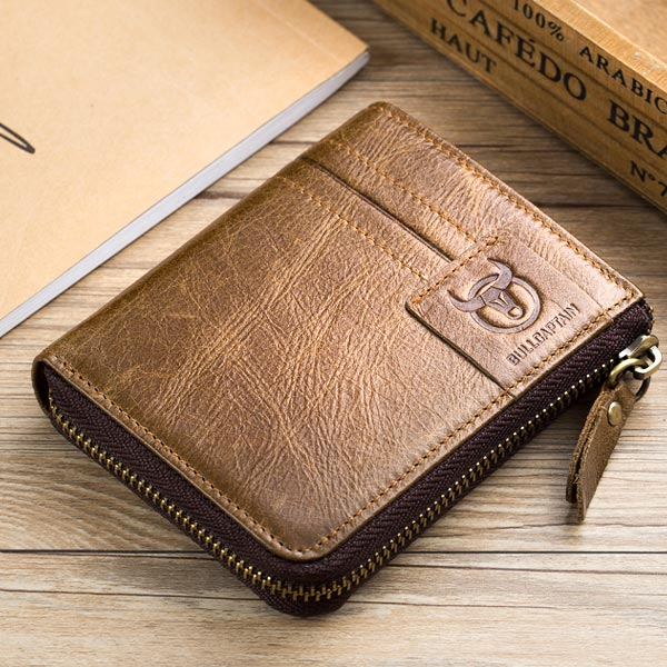 Bullcaptain Leather Wallet Vintage Zipper Card Holder for Men