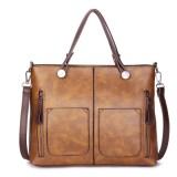 Women Retro Solid Tote Bag Dating Soft Leather Large Capacity Handbag Crossbody Bag