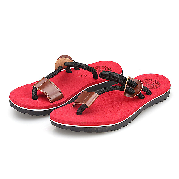 Men Casual PU Leather Clip Toe Slippers Beach Shoes