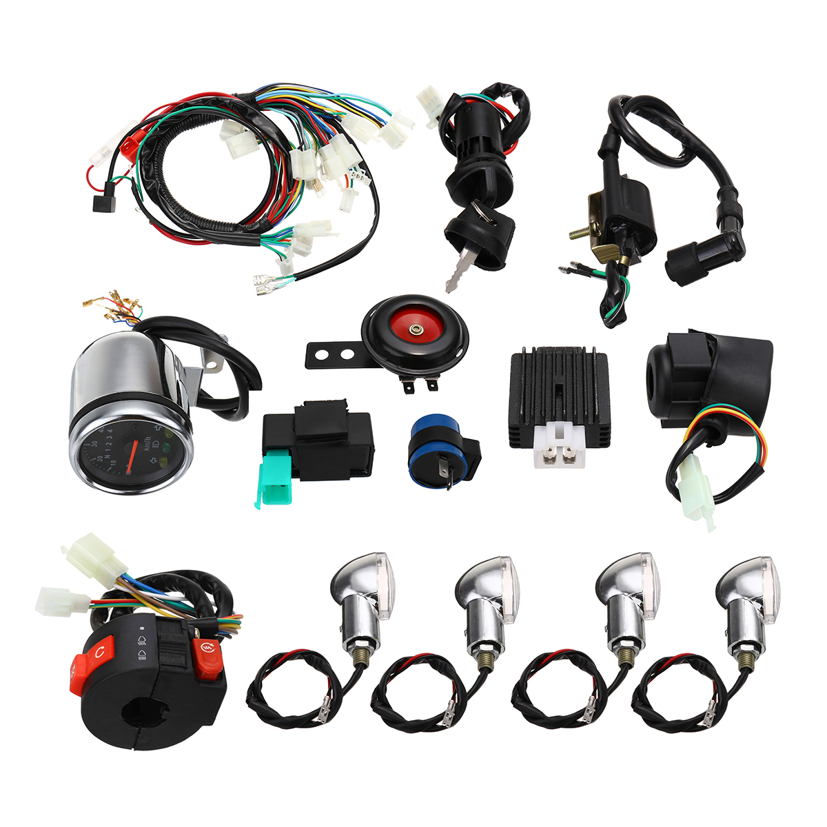 Full Electric Start Engine Wiring Harness Loom For Cdi 110cc 125cc Pit Bike Ignition Kit Coil Killswitch Electrics Quad Atv