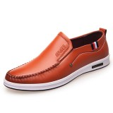 Men Casual Comfy Genuine Leather Flats Oxfords Slip On Shoes