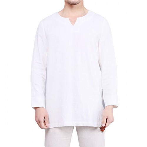 Chinese Style Cotton Linen T-shirts Loose Casual Solid Color Long Sleeve Tee Tops for Men