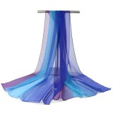 Women Gradient Color Soft Chiffon Scarves Shawls Casual Outdoor Sunshade Beach Scarf