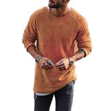 Fashion Men's Knitting Solid Color O-Neck T-shirt Long-Sleeved Regular Fit Casual T-shirt
