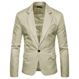 Mens Pure Color Slim Fit Busniess Casual Blazers Suit Jacket 7 Colors