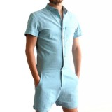 Mens Summer Fashion Pure Color Rompers Single Breasted Short Sleeve Jumpsuits