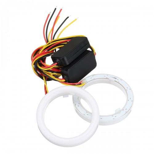 Pair 60/70/80/90/100/110mm 2835 LED Angel Eyes Lights Halo Ring DRL Turn Signal Light
