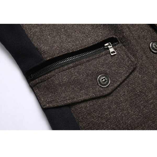 Mens Stitching Wool Jacket Zipper Pocket Stand Collar Business Coat
