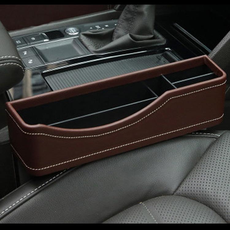 CB PU Leather Car Seat Slit Pocket Catch Catcher Storage Organizer Box Caddy