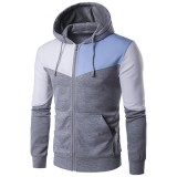 Men's Casual Zip Up Hooded Sweater Fashion Stitching Hit Color Sports Hooded Tops