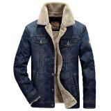 Mens Winter Thick Warm Fleece Multi Pockets Denim Blue Jacket Casual Coat