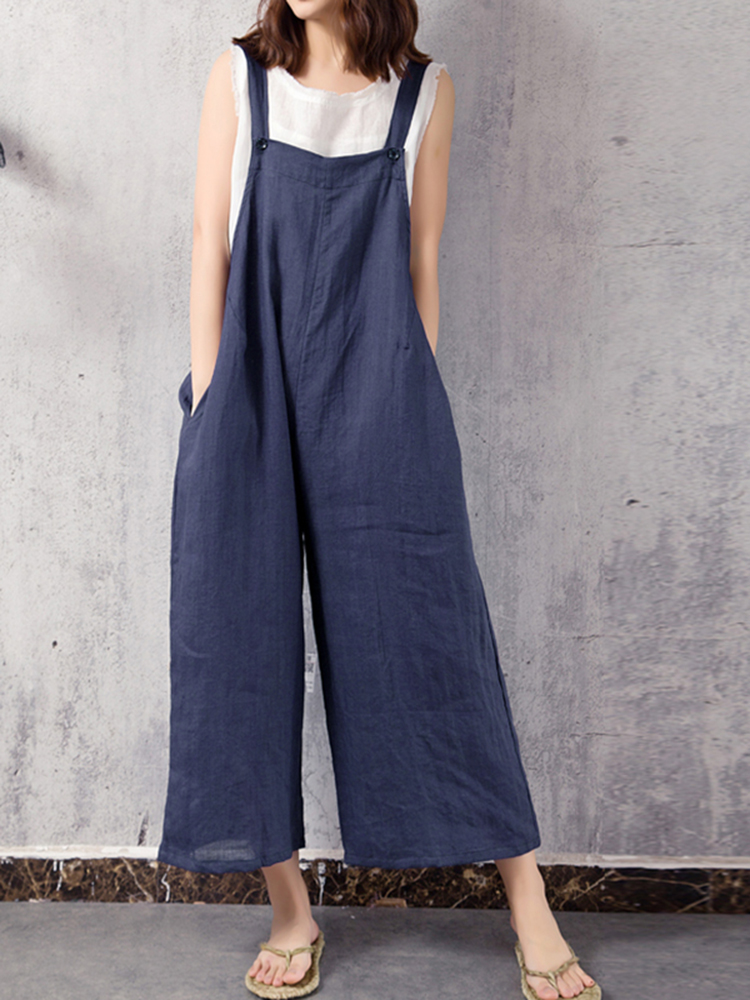Casual Women Strap Pure Color Wide Leg Jumpsuit with Pocket
